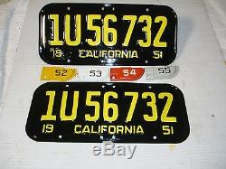 1951-1952-1953-1954-1955 California CAR license Plate pair DMV OK RESTORED