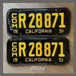 1951 1955 CALIFORNIA Truck Commercial License Plates Repainted DMV Clear YOM