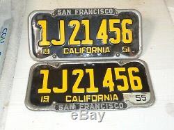 1951-52-53-54-55 California CAR license Plate pair ORIGINAL+S. F FRAME DMV OK
