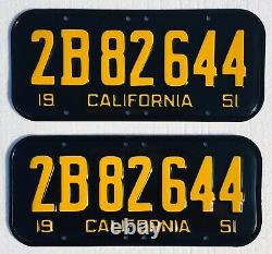 1951-55 California License Plates Pair, DMV Clear Professionally Restored