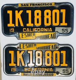 1951-55 California License Plates Pair Withframes. DMV Clear. Original