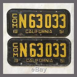 1951 CALIFORNIA Commercial Truck License Plates Pair Original DMV Clear YOM