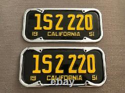 1951 CA California Original PAIR 1S 2 220 License Plates