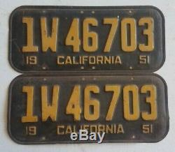 1951 California BLACK Vintage License Plate RARE DMV CLEAR PAIR