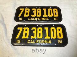 1951 California CAR license Plate pair ORIGINAL RARE, 52 53 54 55 #7B38108