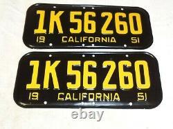 1951 California CAR license Plate pair RESTORED RARE DMV CLEAR, 52 53 54 55