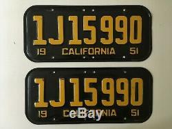 1951 California License Plate PAIR Plates ORIGINAL Good for 1952 1953 1954