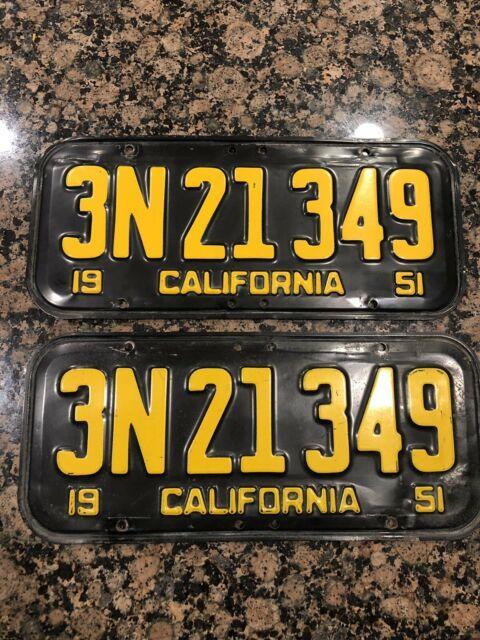 1951 California License Plate Pair Ca Yom Unrestored Original