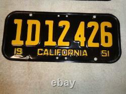 1951 California License Plate Pair, Car DMV Clear Original Rare 1d12426 Jrs