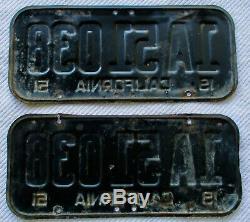 1951 California License Plate Pair, DMV CLEAR # 1A 51038