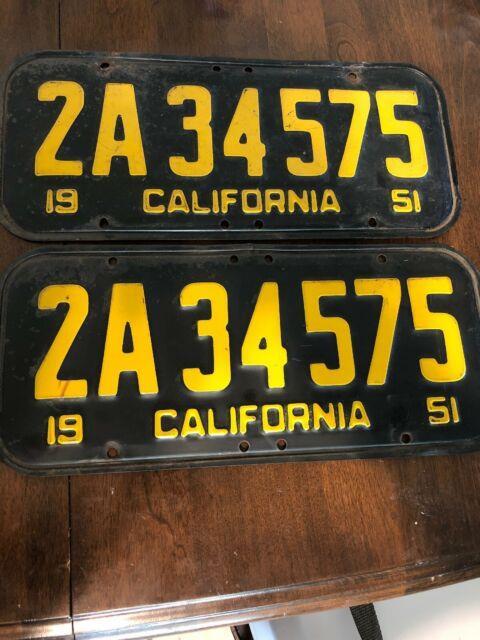 1951 California License Plates (pair) 2a34575