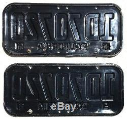 1951 California License Plates Pair, DMV Clear, Excellent Condition