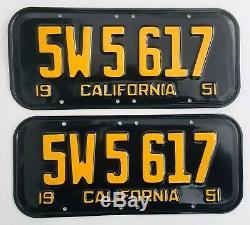 1951 California License Plates Pair DMV Clear Rare 6 Digit Restored