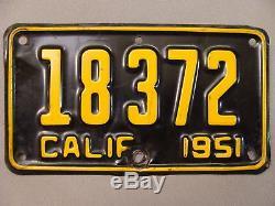1951 California Motorcycle License Plate Harley Davidson/Indian Motor Bike