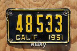 1951 California Motorcycle License Plate Original Paint