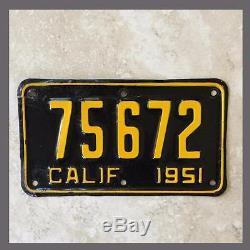 1951 California Motorcycle License Plate Original YOM DMV Clear