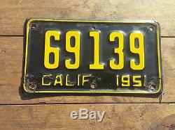 1951 California Motorcycle License Plate Original YOM DMV Clear Harley Davidson