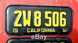 1951 California Nice Original PAIR 2W 8506 License Plates