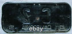 1951 California U. S. Congress License Plate #2, RARE