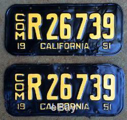 1951 California commercial COM truck license plate pair R 26739 YOM DMV clear