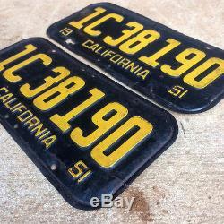1951 California license plate pair 1C 38190 YOM DMV clear Ford Chevy Pontiac