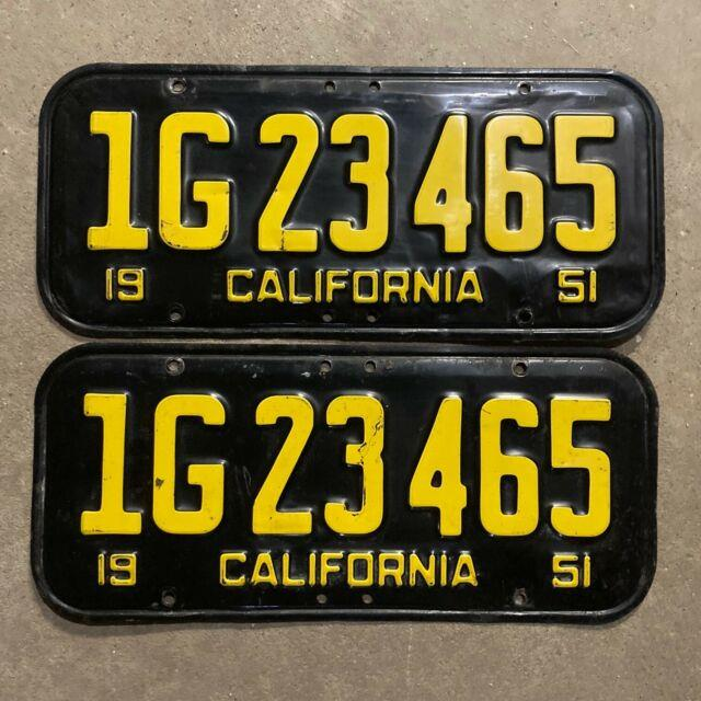 1951 California License Plate Pair 1g 23465 Yom Dmv Clear Ford Chevy 1952 1955