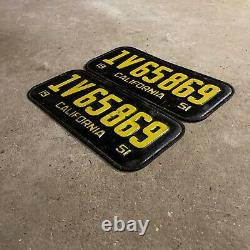 1951 California license plate pair 1V65869 YOM DMV clear Ford Chevy 1952 1955