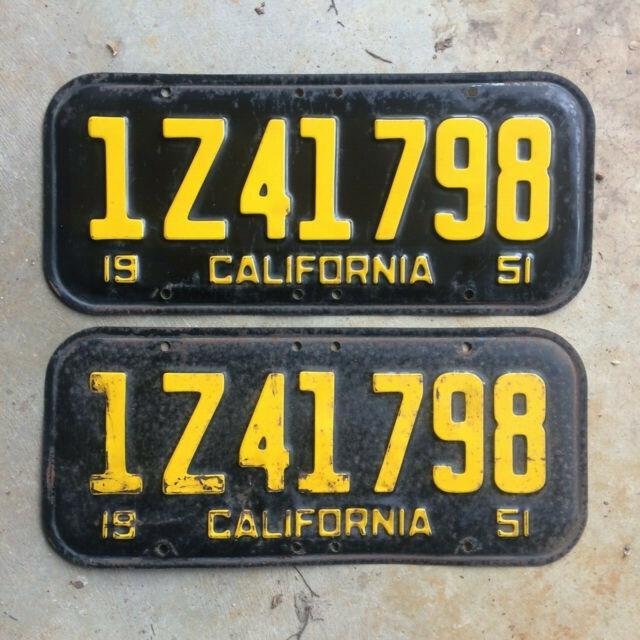 1951 California License Plate Pair 1z 41 798 Yom Dmv Clear Ford Chevy 1952 1954
