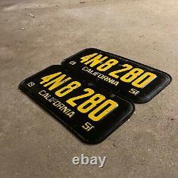 1951 California license plate pair 4N 8280 YOM DMV clear Ford Chevy 1952 1955