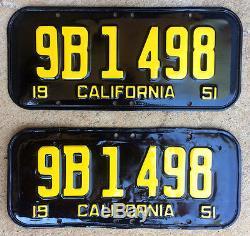 1951 California license plate pair 9B 1498 YOM DMV clear Ford Chevy Pontiac