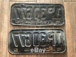1951 California license plate pair TRUCK 1P30677 DMV CLEARED