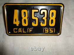 1951 California motorcycle license plate 48-538 RARE 5 DIGIT DMV OK
