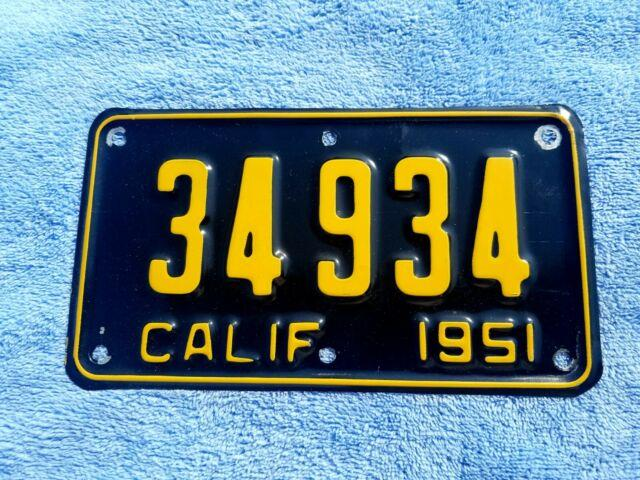 1951 California Motorcycle License Plate Yom Dmv Clear Harley Indian 1952 1953