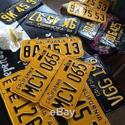 1951 California truck license plate pair COM B 3561 YOM DMV clear commercial