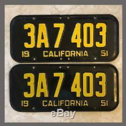 1951 Passenger Car Original CALIFORNIA License Plates Pair DMV Clear YOM