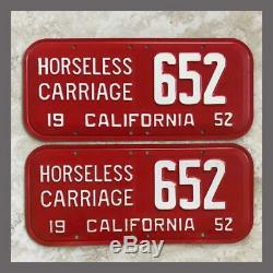 1952 CALIFORNIA Horseless Carriage License Plates Pair Original Collector