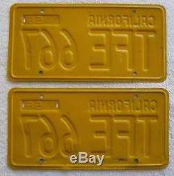 1956,1957,1958,1959,1960,1961,1962 California License Plates # TFE 667 DMV Clear