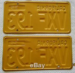 1956, 1961 California License Plate Pair DMV Clear # VXF 193