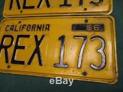 1956-1962 California DMV Cleared Pair License Plates Rex- 173 T-rex Dinosaur