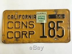 1956 1962 California License Plate Consular Corps Very Rare Type ALL ORIGINAL