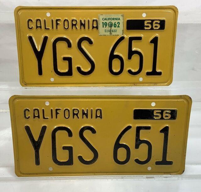 1956 56 1962 62 Yellow Black California License Plate Tag Pair Set Ygs-651 Mint