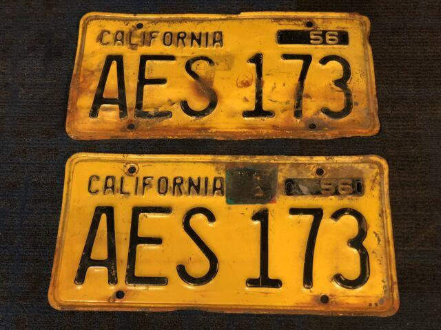 1956 56 California Ca License Plate Set Front Rear Black Yellow Orange Aes 173