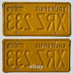 1956-62 California License Plates Pair. DMV Clear, Original, Straight & Clean