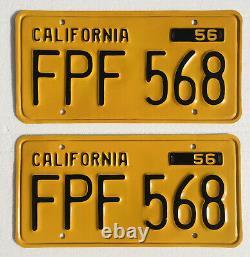 1956-62 California License Plates Pair, DMV Clear, Restored