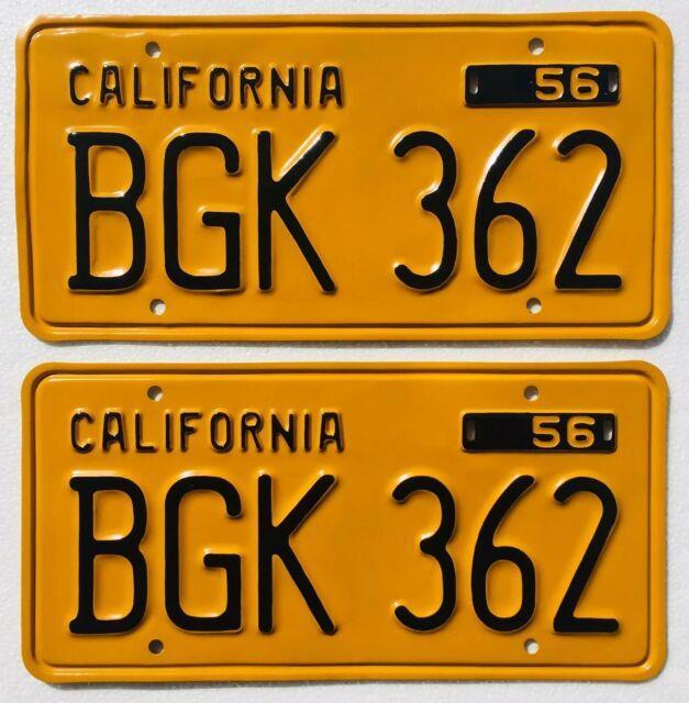 1956-62 California License Plates Pair, Dmv Clear, Show Quality Restoration