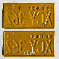 1956-62 California License Plates Pair, Restored. DMV Clear
