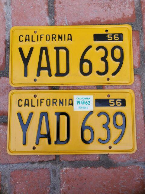 1956-62 California Pair Of License Plates Excellent Shape Yad 639