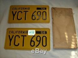 1956-62 California Pair of License Plates Very Nice