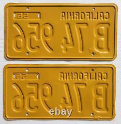 1956-62 California Truck License Plates Pair. DMV Clear, Restored