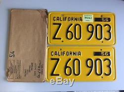 1956-62 Original California Commercial Yellow Plates